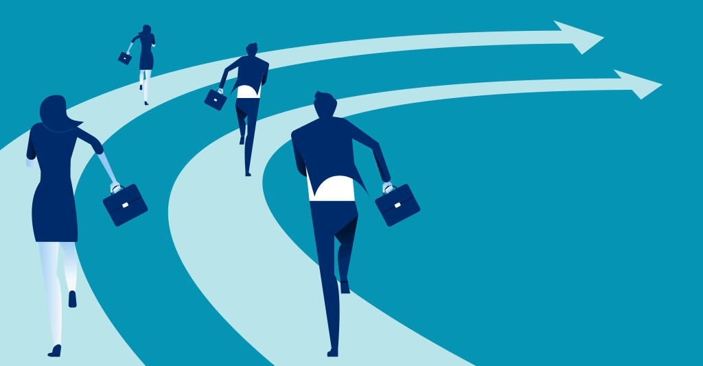 illustration of businesspeople running on a track